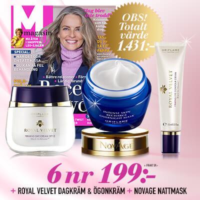 M-magasin + Dagkräm, ögonkräm och nattmask från Oriflame som premie