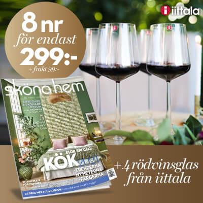 Sköna hem + 4 rödvinsglas från Iittala som prenumerationspremie